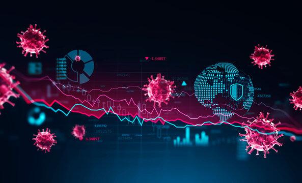 Infographic interface and coronavirus statistics background