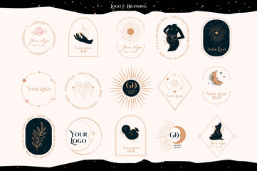Obraz Collection of Logos with mystical, astrology elements, pregnant woman, baby, sun and moon. Branding collection. Editable vector illustration. - fototapety do salonu