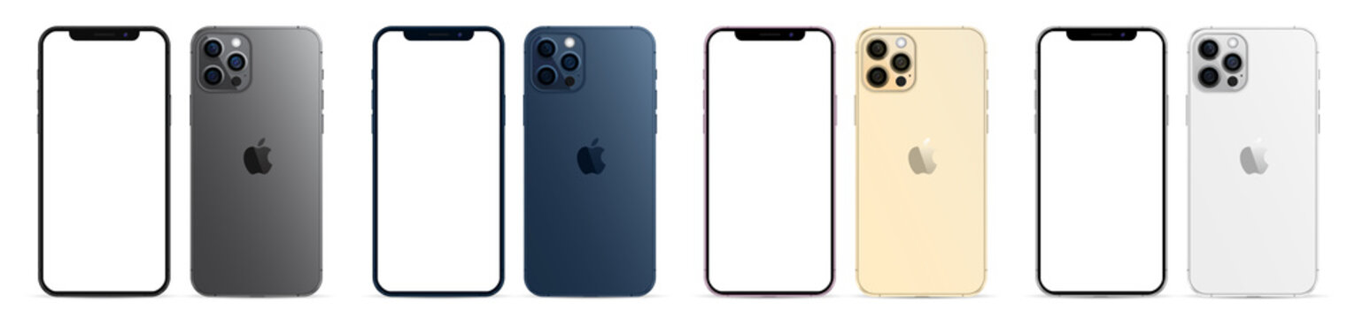 Kiev, Ukraine - January 23, 2021: Apple iPhone 12 Pro or Pro Max in four colors graphite, pacific blue, gold, silver. Mock-up screen front view iphone with white screens and back side phone.