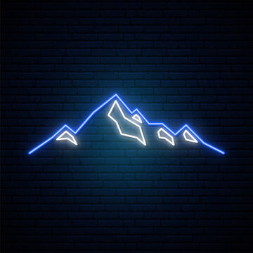 Neon Mountains icon on dark brick wall background. Bright tourist design.  Vector illustration in neon style.