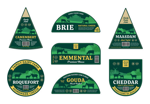 Vector cheese labels and packaging design elements. Dairy farming illustrations. Rural landscape, farm animals and design elements