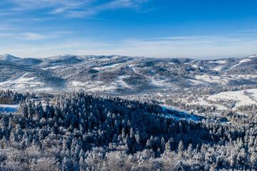 Wisła Zima - Panorama góry - śnieg  - fototapety na wymiar