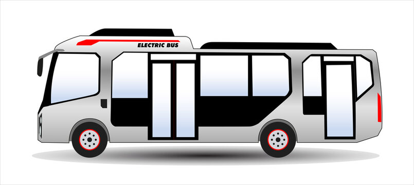 Electric bus. Concept eco transport. Zero emission transport in city. Green urban ecology concept of e-bus. Vector.