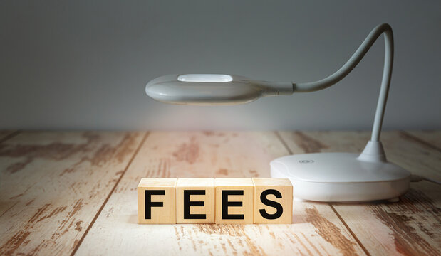 Wooden blocks with the word FEES are illuminated by a table lamp