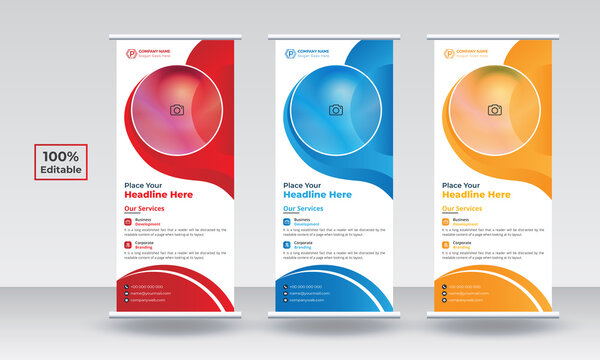 Roll up banner stand template design. Modern exhibition advertising trend business roll up banner. Roll up, roll up stand, roll up template, roll up design. Roll up banner design, roll up banner red,