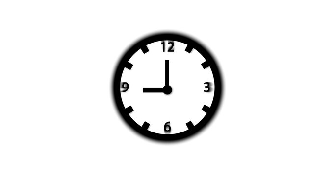 2d flat clock illustration isolate on white background. time 9:00 o clock.