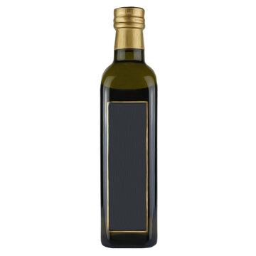 Olive oil bottle on a white background.