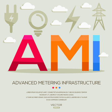 AMI mean (Advanced metering infrastructure) Energy acronyms ,letters and icons ,Vector illustration.