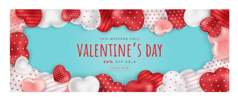 Valentine's day sale background with heart boarder. Can be used for wallpaper, flyers, invitation, posters, brochure, banners. Vector illustration.