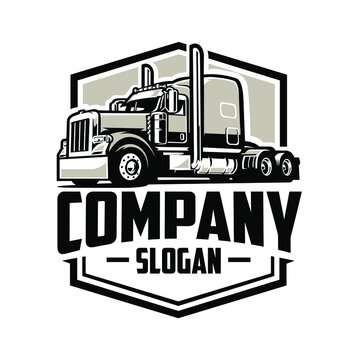 Semi truck 18 wheeler trucking company logo, ready made logo template set for trucking company