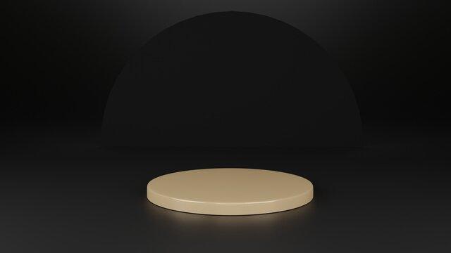 3d rendering. Abstract gold geometry shape on black background. podium minimalist mock up scene.