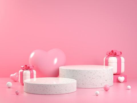 Soft Pink Valentine Collection Platform Concept With Gift Box Abstract Background 3d Render
