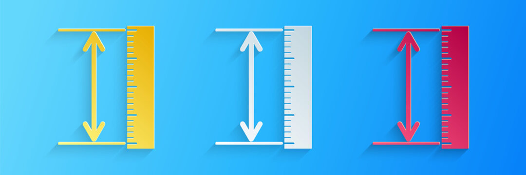 Paper cut The measuring height and length icon isolated on blue background. Ruler, straightedge, scale symbol. Geometrical instruments. Paper art style. Vector.