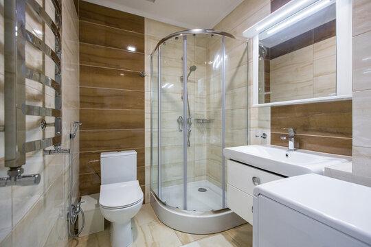 Interior photography, modern bathroom with shower