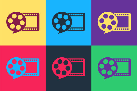 Pop art Film reel and play video movie film icon isolated on color background. Vector.