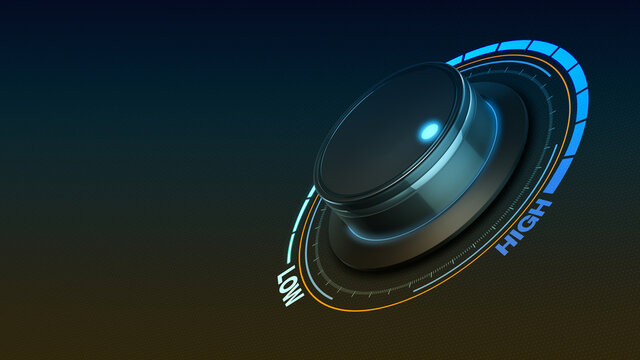 close-up view of a knob turned to high, concept of high performance copy space (3d render)