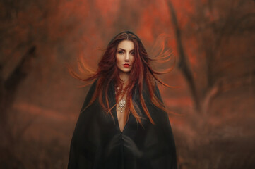 fantasy gothic woman dark witch. Red-haired evil Girl demon in black dress cape hood. Long hair...