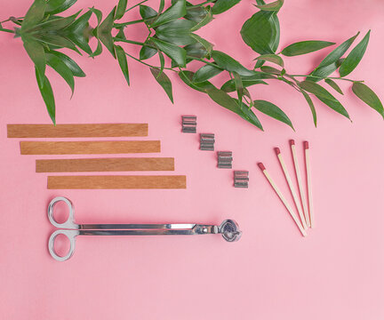 Flat lay of wooden wicks, scissors and wick holders on pink background. Nearby are matches and a branch with green juicy leaves.