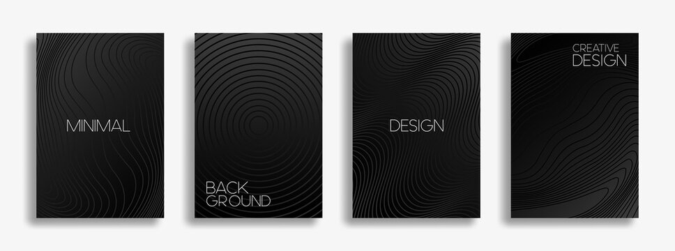 Set of cover black and white cards. Minimal geometric pattern with wavy lines for banner, posters, and wallpaper.  Eps 10 Vector template