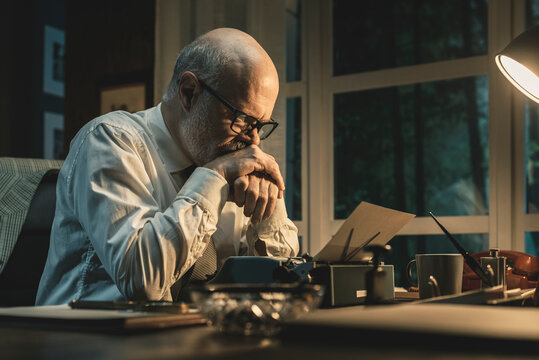 Frustrated writer experiencing a creative slowdown
