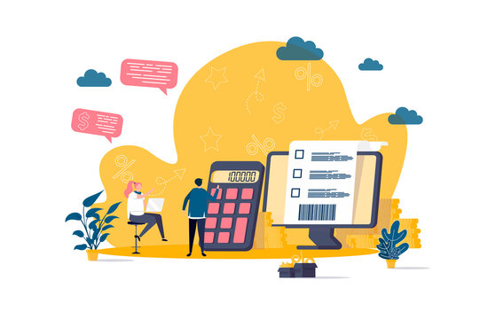 Accountant concept in flat style. Financial balance calculation scene. Business accounting and audit, annual statement and taxes banner. Vector illustration with people characters in work situation.