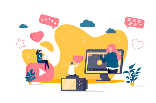 Bloggers concept in flat style. Online stream watching scene. Content production for social media, entertainment and education web banner. Vector illustration with people characters in situation.