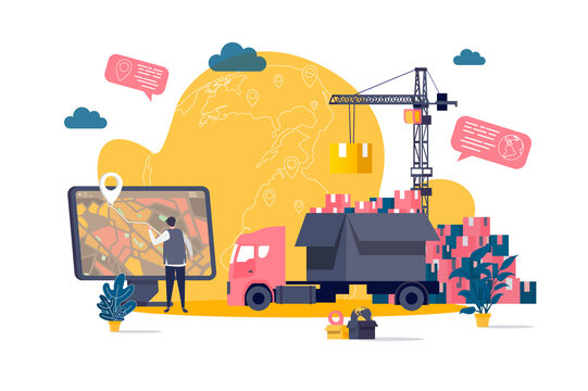 Logistics concept in flat style. Warehouse worker planning route on computer scene. Express delivery service, warehousing and distribution. Vector illustration with people characters in work situation