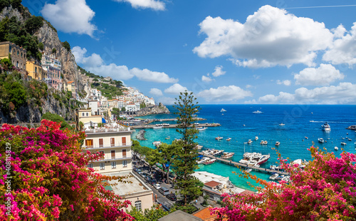 Wall mural Landscape with Amalfi town at famous amalfi coast, Italy