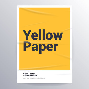 Glued paper yellow poster template.