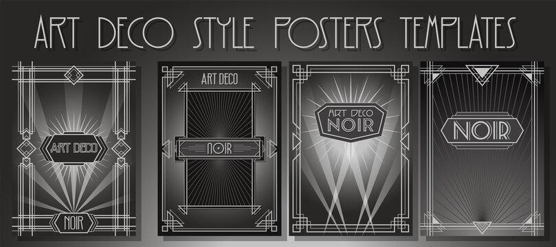 Art Deco Backgrounds, Frames. Noir Movies Posters Style Template Set, Retro Geometric Ornaments, Monochrome Backdrop