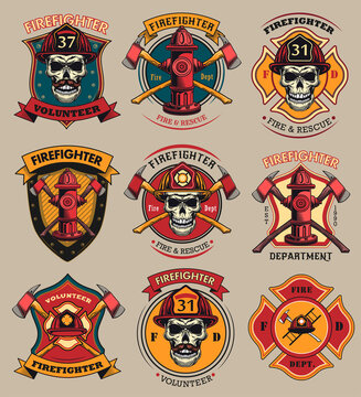 Firefighter patches set. Badges with skulls in helmets, axes, hydrant, red heraldry with ribbons. Colored vector illustrations collection for firemen, fire department, rescue concept