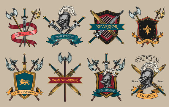 Medieval knights accessories set. Armors, swords, helmets, shields, axes illustrations isolated on beige background. For military, fight, or sport team label templates
