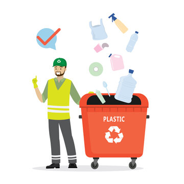 Separate garbage collection. Caucasian man in uniform stands near trash can. Plastic items fall into separate tank.