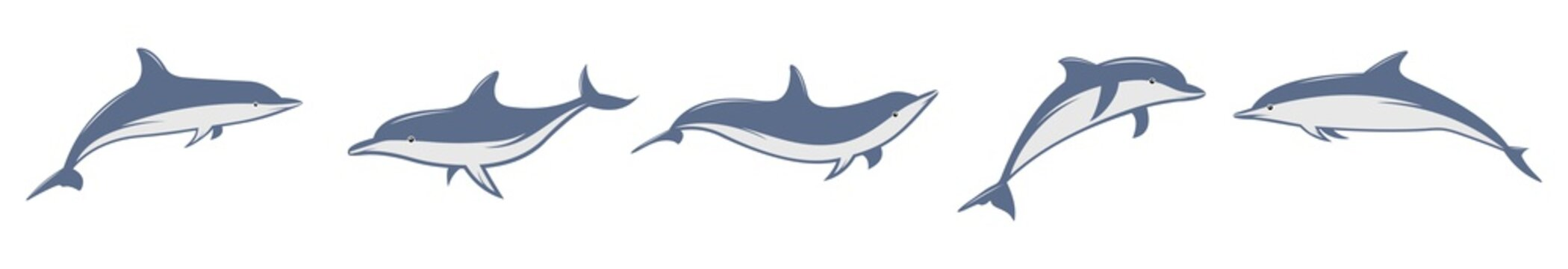 Dolphin fish animal vector icon illustration, Cute dolphins set, dolphin jumping isolated on white background