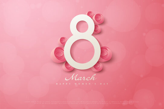 Happy women's day on March 8th with numbers decorated with pink roses.