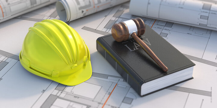 Construction, labor law concept. Judge gavel and book on project blueprint background. 3d illustration