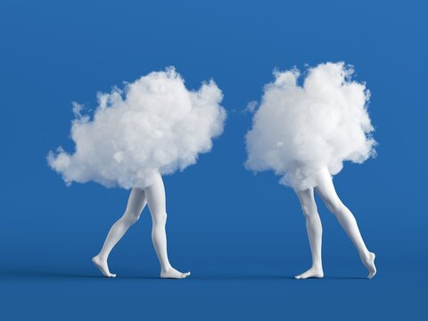 3d render. Couple of abstract white clouds with mannequin legs. Soul mate metaphor. Social role play. Partners interaction. Minimal surreal clip art isolated on blue background