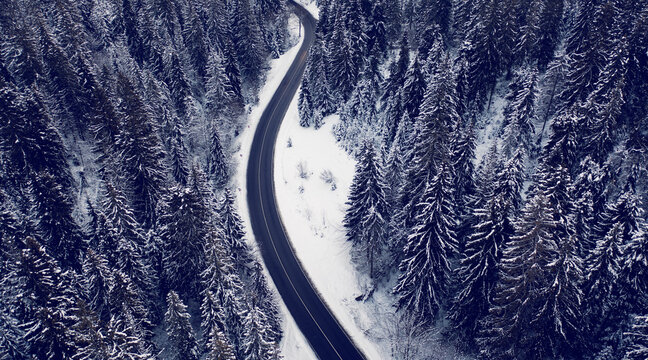 Mountain road in the winter forest. Dolomites Alps Italy.