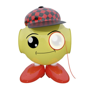 lustiges Roboter Emoticon mit Cappy und Monokel