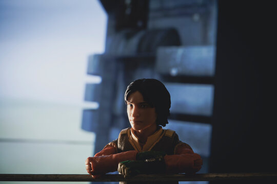 NEW YORK USA, JAN 25 2021: Star Wars Rebels cartoon Ezra Bridger looks out over Lothal from his home tower - Hasbro action figure