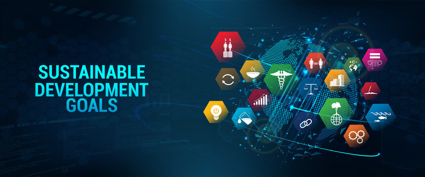 Web banner SDG - Sustainable Development Goals. Futuristic banner  long-term project the united nations with 3D Earth Globe and 17 aspects in 17 colorful icons. Sustainable Development Goals. Vector