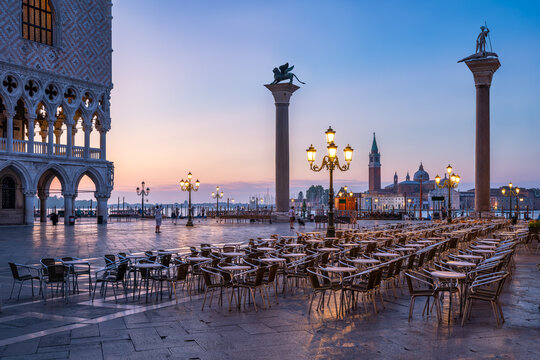 St Mark's Square at sunrise, Venice, Italy