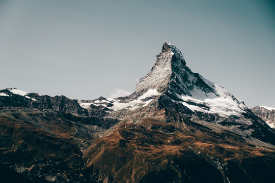 Mountain landscape with views of the Matterhorn peak in Zermatt, Switzerland