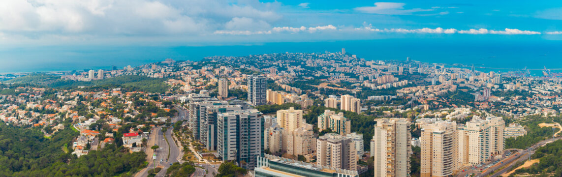 Teh Cityscape of Haifa At Day,  The Israel Cities, Aerial View, Israel