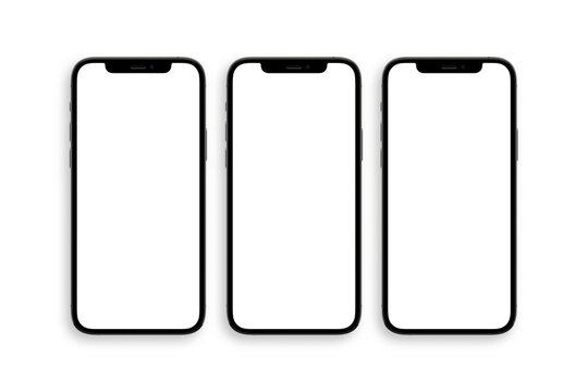 set of three iphone 12 pro with blank white screen top view