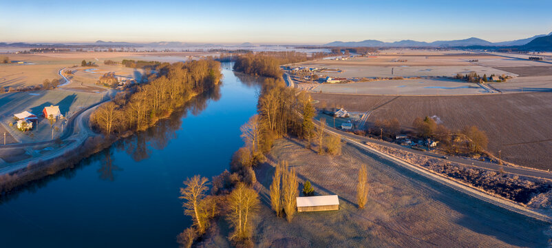Aerial View of the Skagit River, Conway, Washington. The Skagit River is the largest river in Puget Sound and one of the biggest rivers in the entire state and in the National Wild and Scenic Rivers.