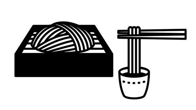 Japanese buckwheat noodles. Soba(Zaru soba). Illustration of pick up buckwheat with chopsticks.