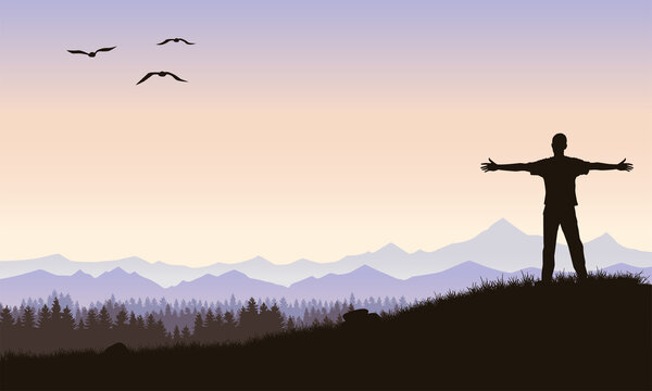 A young man against a background of mountains or a valley, looks into the distance with his arms outstretched. Mountain landscape. Vector illustration.