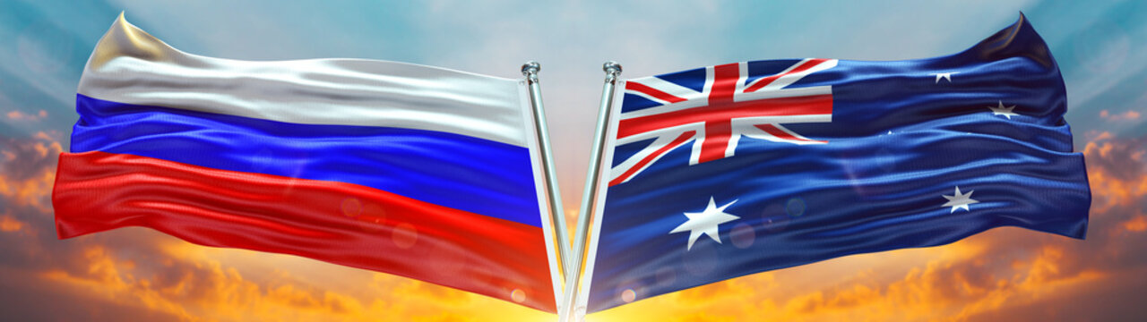 Double Flag Australia and Russia flag waving flag with texture sky Cloud and sunset background