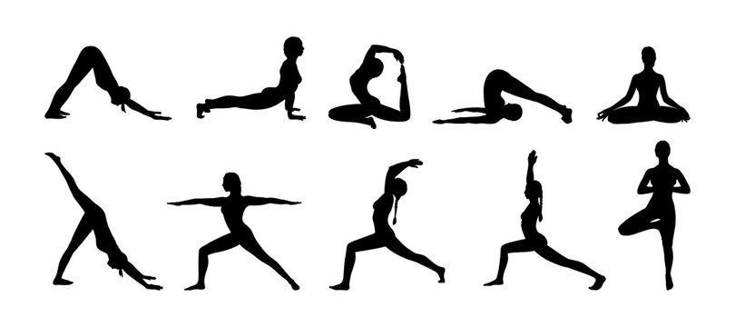 Yoga asana set. Set of woman black silhouettes exercising yoga illustrations. Hand drawn sketch vector illustration isolated on white background